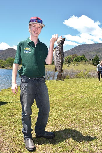 Darcey Blake, of Corryong, was named junior champion at Jounama on Saturday after landing a 54cm brown trout.